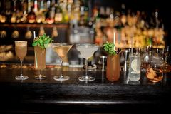 Set of classic cocktails: Dirty Martini, Sherry Cobbler, Brandy. Crusta, Margarita, Cobras Fang,Tom Collins and Captain James Cook arranged on the bar counter royalty free stock photo