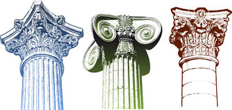 Set classic columns Royalty Free Stock Photo