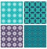 Set of classic decorative background with fine geometric patterns. Vintage filigree ornament in duo color design. Vector eps10 Royalty Free Stock Image