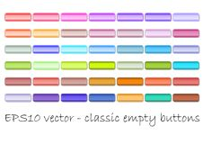 Set of classic empty web buttons in different color shades.  Royalty Free Stock Photos