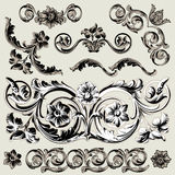 Set Of Classic Floral Decoration Elements Stock Images