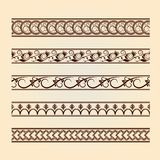 Set of classic floral lines (vintage collection). Decorative floral brown elements. Vintage design Stock Photo