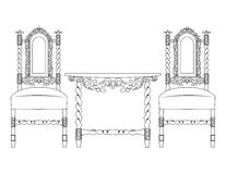 Set of classic furniture with rich ornaments Stock Photo