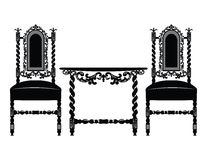 Set of classic furniture with rich ornaments Royalty Free Stock Photo