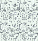 Set of classic furniture 1. Set of classic furniture seamless pattern light blue background Royalty Free Stock Images