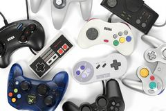 A Set of Classic Gaming Controllers stock image