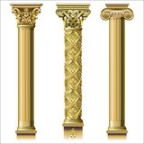 Set of classic gold columns. In different styles. Vector graphics Stock Images