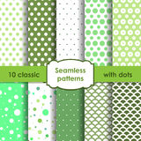 Set of classic green seamless patterns with dots Stock Photos