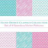Set of 6 Classic Hand-Drawn Coordinating Patterns, Polka Dots and Diagonal Candy Stripes, in Mint and Baby Pink. Collection of 6 vector seamless classic patterns Royalty Free Stock Image