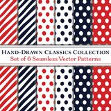 Set of 6 Classic Hand-Drawn Coordinating Patterns, Polka Dots and Diagonal Candy Stripes, in Navy Blue and Red. Collection of 6 vector seamless classic patterns Royalty Free Stock Photo