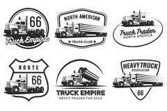 Set of classic heavy truck logo, emblems and badges. Royalty Free Stock Photo