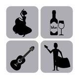 Set classic icons of Spanish culture Stock Images