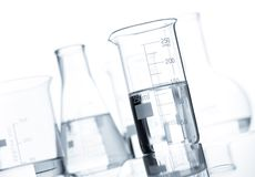 Set of classic laboratory flasks Stock Photos