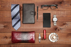 Set of classic man and woman accessories. Flat lay. Royalty Free Stock Image