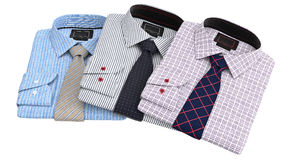 Set classic men's shirts and ties Royalty Free Stock Image
