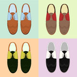 Set of classic mens shoes. Retro style. Various color Stock Image
