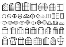 Set of classic and modern windows. A set of classic and modern Windows. Icons signs symbols silhouettes. Vector graphics royalty free illustration