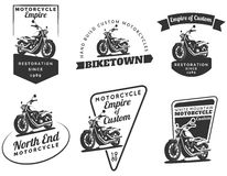 Set of classic motorcycle emblems, badges and icons. Stock Photos
