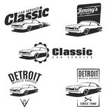 Set of classic muscle car emblems, badges and icons. Service car repair, car restoration and car club design elements Stock Images