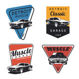 Set of classic muscle car emvlems Stock Image