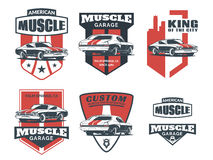 Set of classic muscle car logo, emblems, badges and icons.