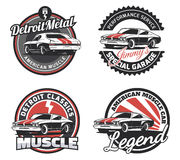 Set of classic muscle car round emblems, badges and signs. Vintage car club design elements Stock Images