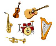 Set of classic musical instruments Stock Image