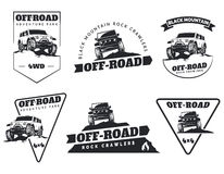 Set of classic off-road suv car emblems, badges and icons. Rock. Crawler car, off-road suv adventure and car club design elements. Isolated suv front and side Stock Photo