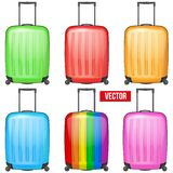 Set of Classic plastic luggage suitcase for air or. Set of Classic orange plastic luggage suitcase for air or road travel. Vector Illustration isolated on white Stock Photos
