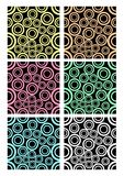 Set of classic rounded patterns on black background. Different color variants - white, purple, blue, green, yellow, dark red. Temp. Set of classic concentric Stock Image