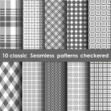 Set of 10 classic seamless checkered patterns. Whate and grey colors stock illustration