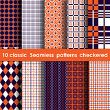Set of 10 classic seamless checkered patterns. Whate, orange and blue colors Stock Images