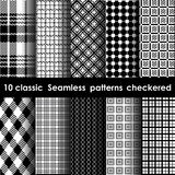 Set of 10 classic seamless checkered patterns. White and black colors Stock Photography