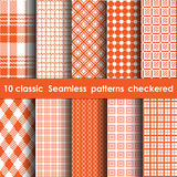 Set of 10 classic seamless checkered patterns. White and orange colors Royalty Free Stock Photography