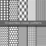Set of 10 classic seamless geometric patterns. Set of 10 monochrome classic seamless geometric patterns. May be used as background, backdrop, cards, invitation Vector Illustration