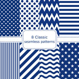 Set of 8 classic seamless patterns. Polka dots, zigzag, wave, stars, striped. Vector illustration Stock Photography