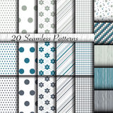 Set of 20 classic seamless patterns Royalty Free Stock Images