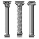 Set of classic silver columns. In different styles. Vector graphics Royalty Free Stock Photo