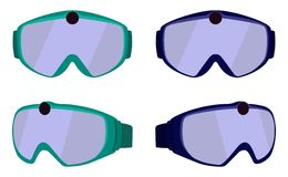 Set of classic ski and snowboard glasses with colored rims. Goggles with integrated action camera. Vector illustration in flat sty. Le isolated on white Stock Photos