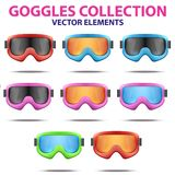 Set of Classic snowboard ski goggles with colorful Royalty Free Stock Images