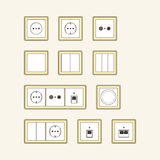 Set of classic sockets Royalty Free Stock Image