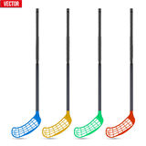 Set of classic sticks for floorball and floor hockey Stock Image