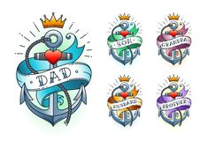 Set of Classic tattoo anchor with crown, heart and ribbon with words. Dad, son, grandpa, husband, brother. Classic old school American retro tattoo. Vector royalty free stock photo