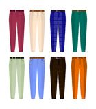 Set of classic trousers for men different color. Flat design Vector. EPS vector illustration