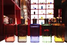 Venetian style perfume bottles. Set of classic Venetian bottles with perfumes made with antique receptas royalty free stock image