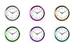 Set of classic wall clocks on a white background. Royalty Free Stock Image