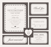 Set of classic wedding invitations Royalty Free Stock Images