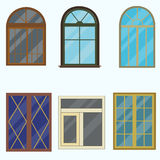 A set of classic windows for buildings. Vector illustration of a flat design Stock Image
