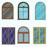 A set of classic windows for buildings. Vector illustration of a flat design Stock Photography