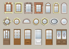 Set of classic windows. A set of different classical windows and doors vector illustration